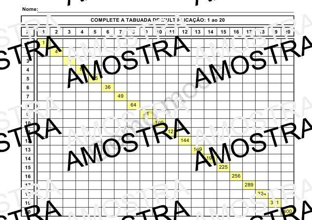 Tabuada Completar 1 Ao 20 Para Imprimir Atividade De Matematica
