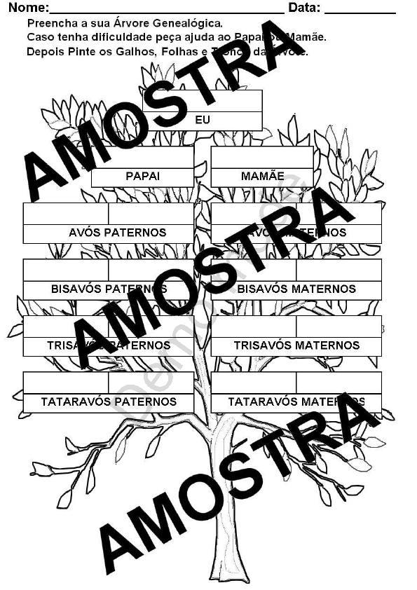 Atividade Para Imprimir Arvore Genealogica