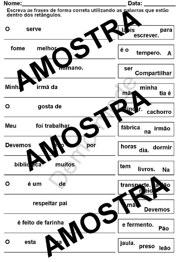 Atividade Para Imprimir Ordenar E Copiar Frases